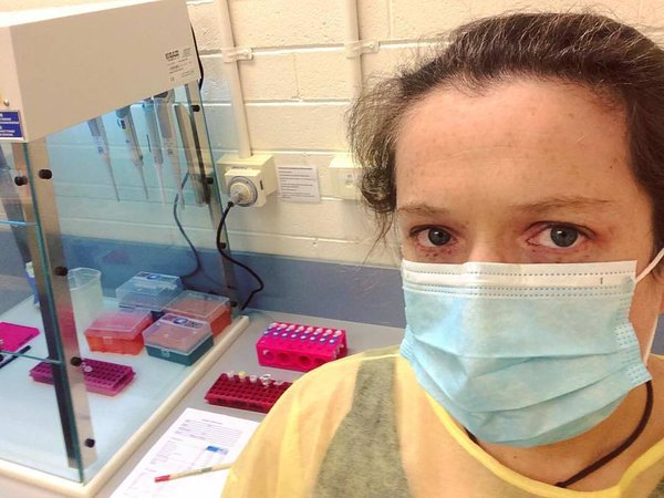 IAE's Dr Anna MacDonald in the lab, working with 'poo' samples