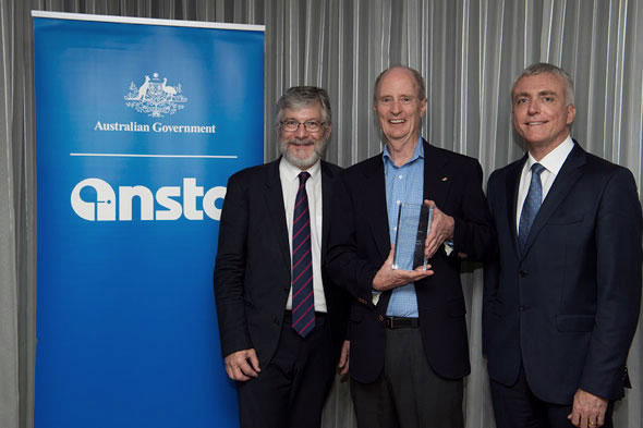 (Left to right) ANSTO CEO Adi Paterson, Dr Richard Garrett (who received the Award for Sustained Contribution to ANSTO) and Board Member Prof Andrew Scott AM