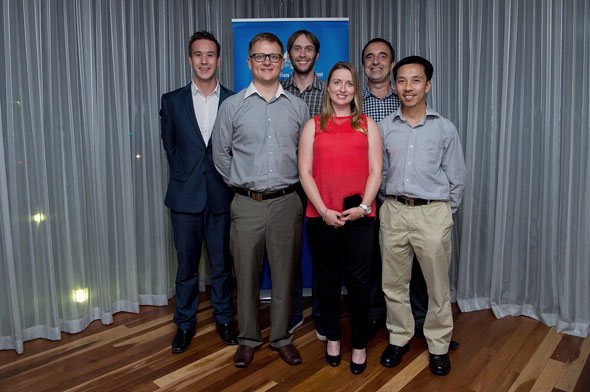 MILGa team members who shared Innovation Award (Front row: left to right) Nigel Lengkeek, Maxine Roberts, Tien Pham (Back row: left to right) Andrew Winthorpe, Angus Bowan, Mark Calvin