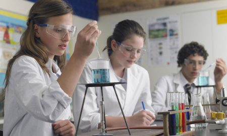 students performing an experiment