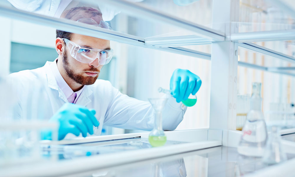 scientist performs research stock image