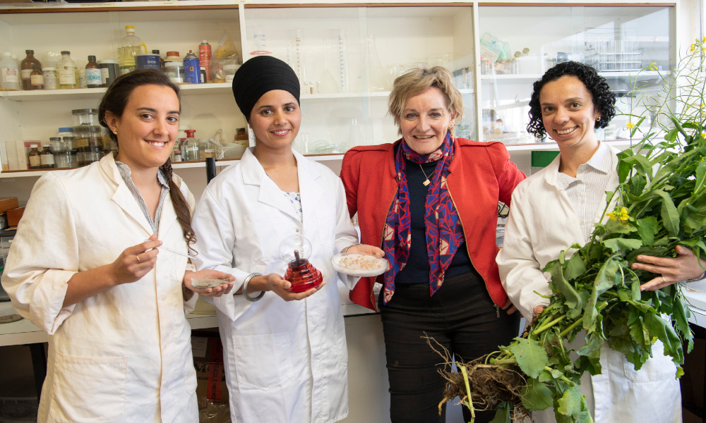 Scholarship recipients Mary-AnneLowe UWA Soil water repellence, Manider Kaur Murdoch Uni Cold plasma to prevent mold contamination, Marcia Correa Queiroz de Lima Murdoch Uni Sub soil potassium supply to crops with Minister Alannah MacTiernan
