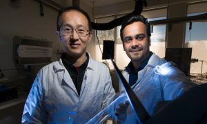 Associate Professor Larry (Yuerui) Lu (left) and PhD researcher Ankur Sharma from the ANU Research School of Engineering. Image credit: Jack Fox, ANU
