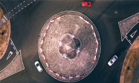 roundabout-red-white-cars