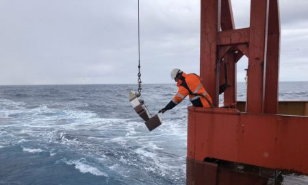 Another Continuous Plankton Recorder is released from the trawl deck of the Aurora Australis. It is towed 100 metres behind the ship at about 10 metres depth, for approximately 450 nautical miles at a time. (Photo: Lloyd Symons)