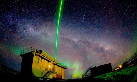The LIDAR instrument lighting the sky above Australia's Davis research station (Photo: Nick Roden)
