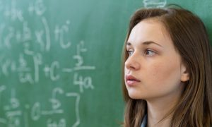 mathematics girl student stock image