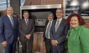 L-R: CSL Limited CEO and Managing Director Paul Perreault, University of Melbourne Vice-Chancellor Duncan Maskell, Bio21 Institute Director Michael Parker, the Hon John Brumby and Professor Margaret Sheil. Image: Sarah Fisher/University of Melbourne