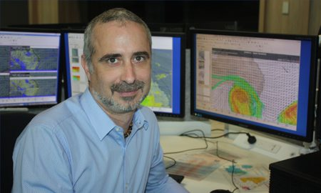 USQ climatology alumni Adam Blazak is one of BOM's Brisbane-based meteorologists. Image courtesy of USQ