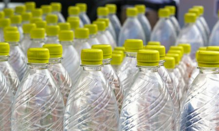 plastic water bottle stock image