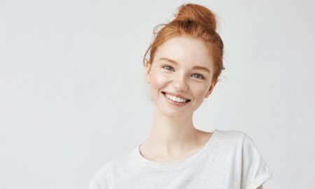 red head girl stock image