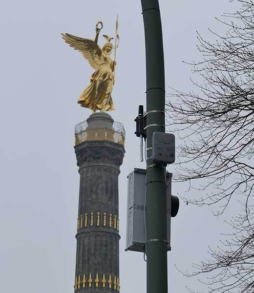 Lightpole V2X tech, and the Victory Column (Siegessäule). Source: Cohda Wireless.
