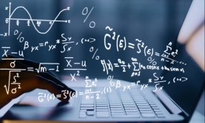 mathematics laptop stock image
