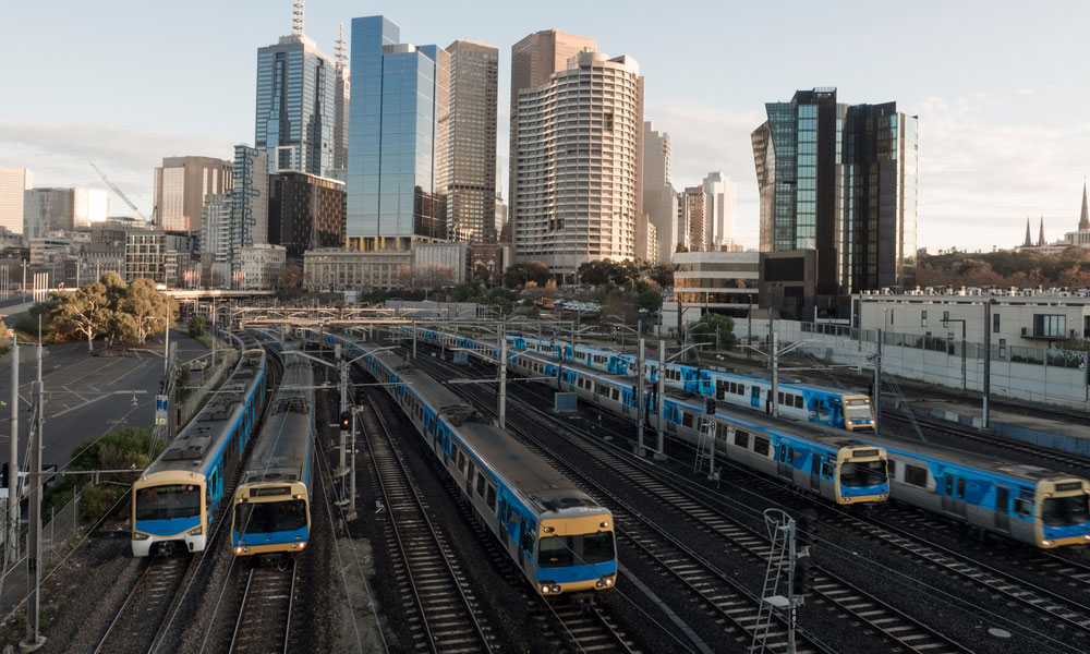melbourne trains stock image