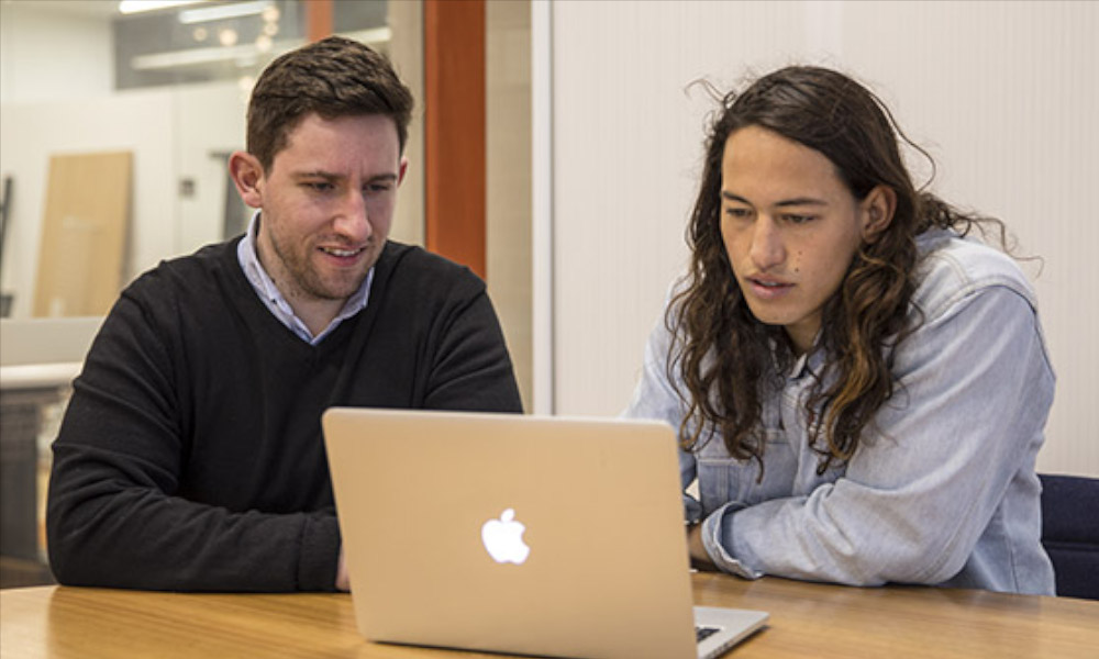 Dr Phil Kinsella (left) completed his PhD at Swinburne and is now working with Damien Png (R) to commercialise Hearables 3D