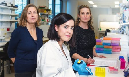 Matthew Flinders Distinguished Professor Tracey Wade, left, research PhD candidate Rachel Laattoe, and Associate Professor Sarah Cohen-Woods, right, at the Behavioural Genomic and Environmental Mechanisms Lab at Flinders, which investigates the genomic and epigenomic bases of behavioural and psychological disorders. and how environments can alter these risks.