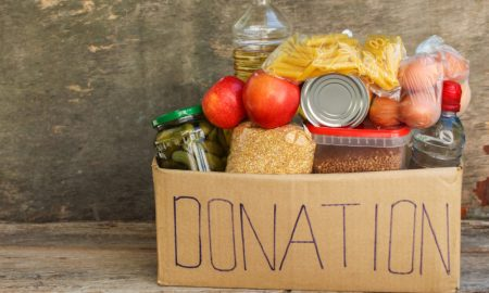 donation food charity stock image