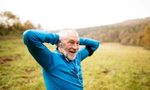 old man run stock image