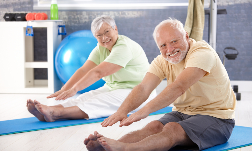old people exercise stock image