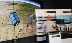 SSTC Director and John Curtin Distinguished Professor Phil Bland at the announcement of the cubesat project.