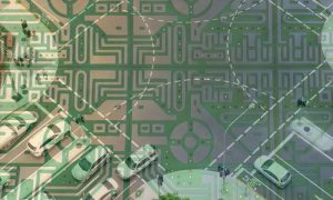 Intersection-and-circuit-board-double-exposure