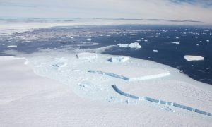 Sørsdal ice shelf - helicopter view towards southern corner. Credit David Gwyther