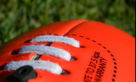 afl ball close up stock image