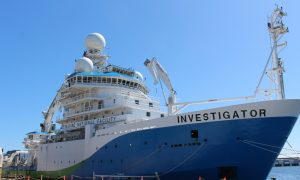 Investigator in port before Macquarie Island voyage