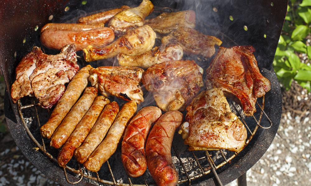 meat-on-grill stock image